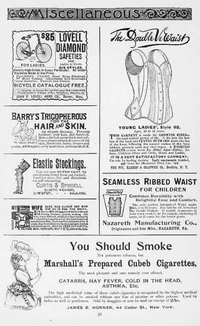 "[Advertisements from ""Godey's lady's book and magazine"" for bicycles, corsets, cigarettes, elastic stockings, and other products]"