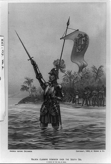Balboa claiming dominion over the South Seas on behalf of the King of Spain