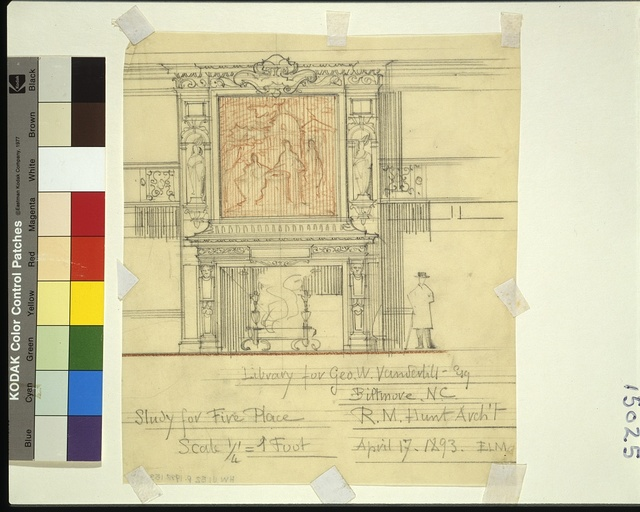 [Biltmore, Asheville, North Carolina. Library. Study for fireplace and overmantel] / ELM April 17, 1893.