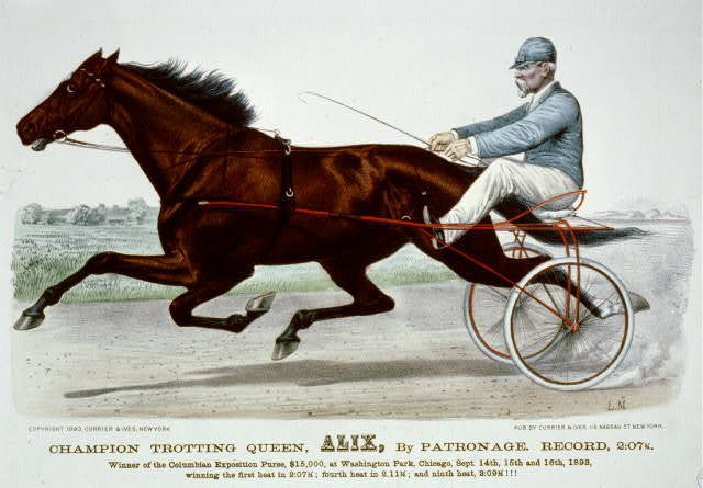 Champion trotting Queen, Alix, by patronage record, 2:07 3/4: Winner of the Columbian Exposition Purse $15,000, at Washington Park, Chicago, Sept. 14th, 15th and 16th, 1893, winning the first heat in 2:07 3/4; Fourtheat in 2.1 3/4; and Ninth heat, 2:09 3/4 !!!