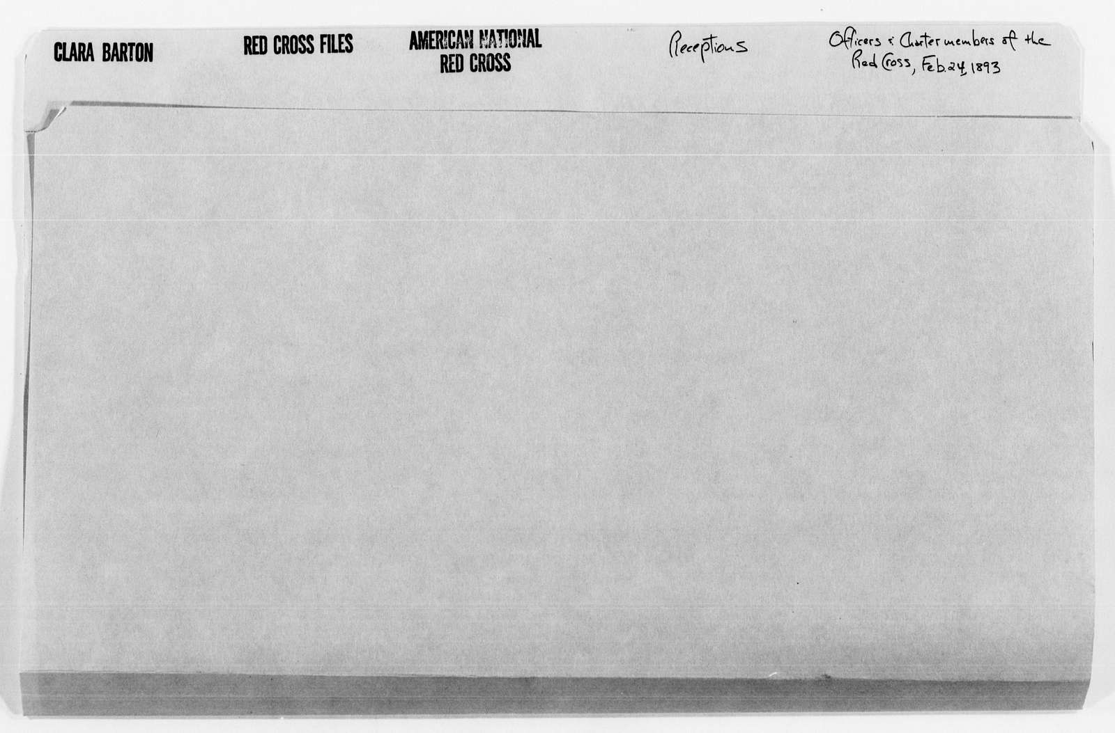 Clara Barton Papers: Red Cross File, 1863-1957; American National Red Cross, 1878-1957; Receptions; Officers and charter members of the Red Cross, 1893
