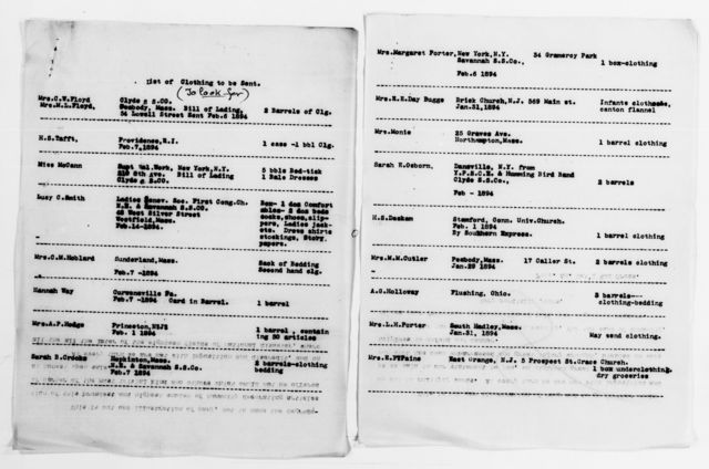 Clara Barton Papers: Red Cross File, 1863-1957; American National Red Cross, 1878-1957; Relief operations; Sea Islands, S.C.; Reports; General reports, 1893-1895, undated