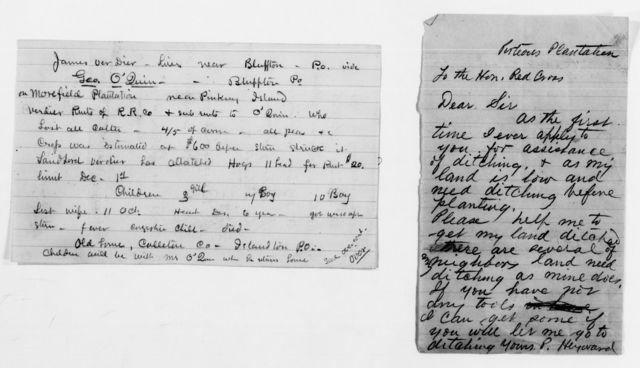 Clara Barton Papers: Red Cross File, 1863-1957; American National Red Cross, 1878-1957; Relief operations; Sea Islands, S.C.; Reports; Labor reports; Miscellany, 1893-1894, undated