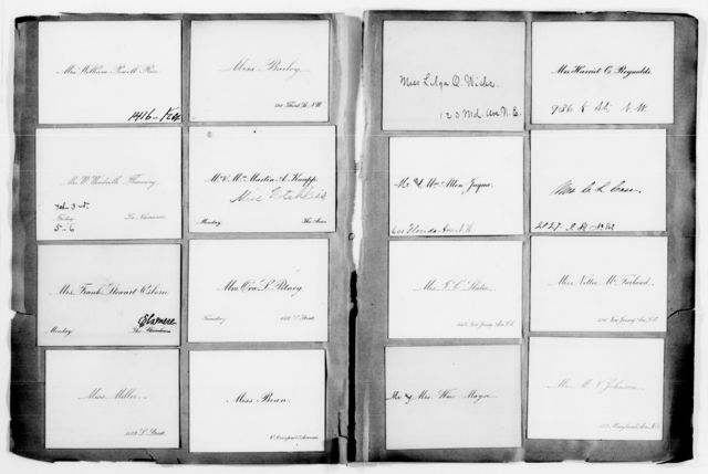 Clara Barton Papers: Red Cross File, 1863-1957; American National Red Cross, 1878-1957; Relief operations; Sea Islands, S.C.; Name card book, 1893, undated