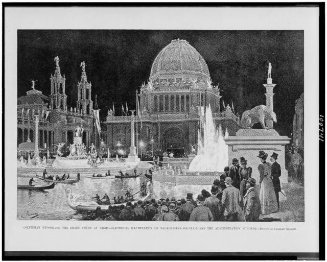 Columbian Exposition--the grand court at night--electrical illumination of MacMonnies's fountain and the administration building / drawn by Charles Graham.