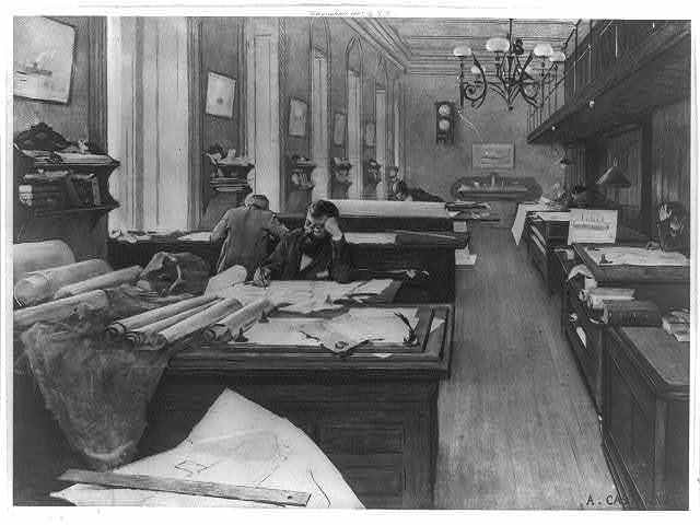 Designing room in the Navy Department, 1893 / A. Castaigne.