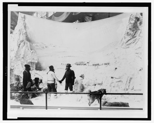 [Diaorama of the Greely Expedition, at the 1893 Chicago World's Columbian Exposition, showing Lt. A.W. Greely, U.S. Army, welcoming Lt. Lockwood and Sgt. Brainard back to Ft. Conger]