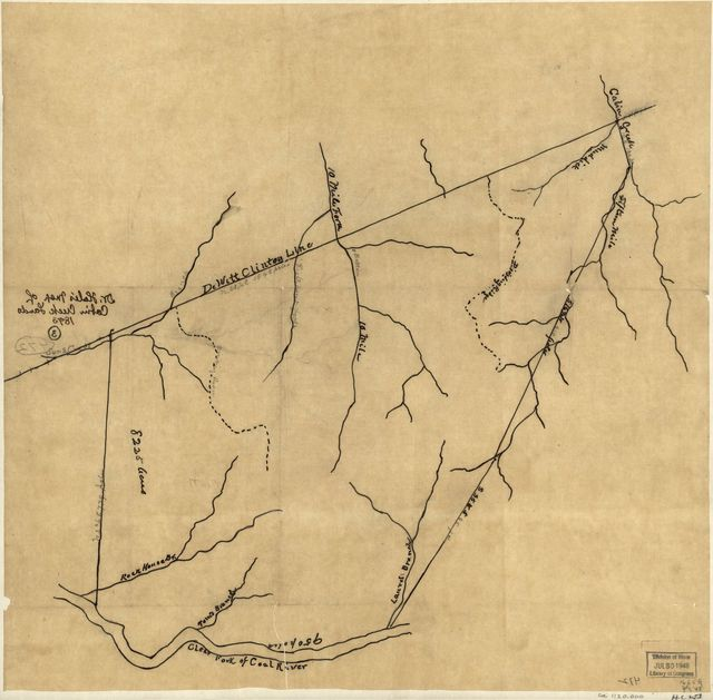 Dr. Hale's map of Cabin Creek lands.