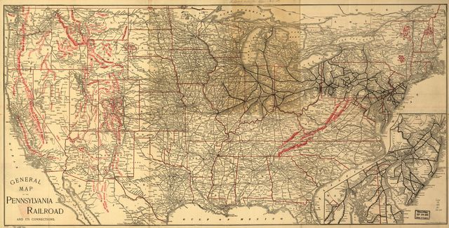 General map of the Pennsylvania Railroad and its connections.
