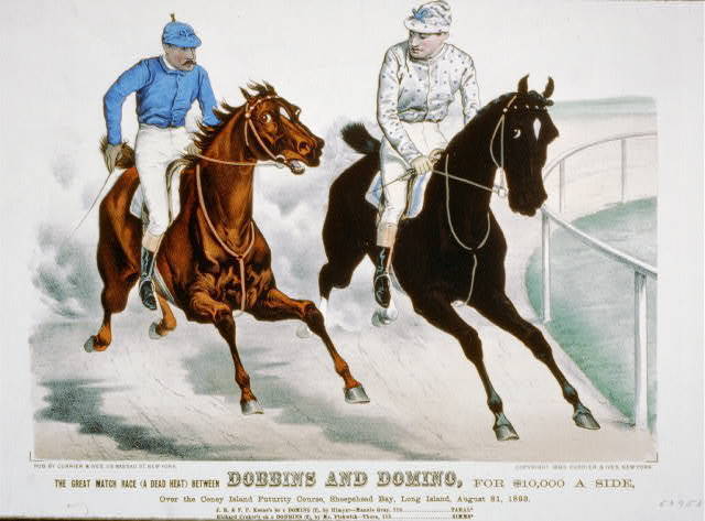 Great match race ( a dead heat) between Dobbins and Domino, for $10,000 a side: over the Coney Island Futurity Course, Sheepshead Bay, Long Island, August 31, 1893