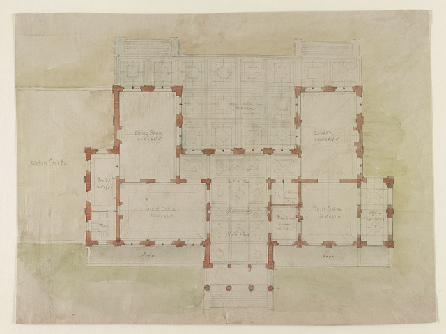 "[House (""The Breakers"") for Cornelius Vanderbilt, Newport, Rhode Island. Plan of ground floor]"