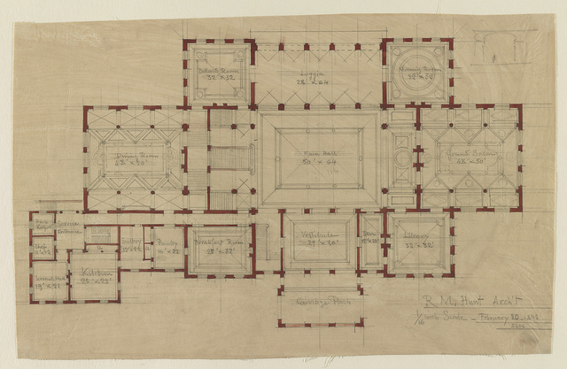"[House (""The Breakers"") for Cornelius Vanderbilt, Newport, Rhode Island. Plan of ground floor] / R.M. Hunt, Arch't."