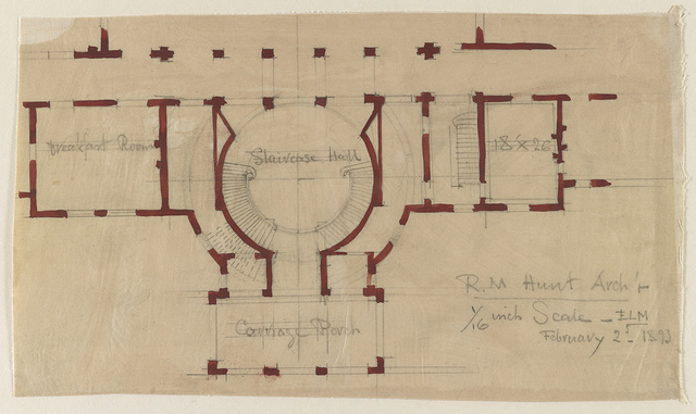 "[House (""The Breakers"") for Cornelius Vanderbilt, Newport, Rhode Island. Plan of staircase hall and carriage porch] / R.M. Hunt, Arch't."
