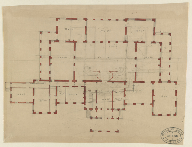 "[House (""The Breakers"") for Cornelius Vanderbilt, Newport, Rhode Island. Plan] / Richard M. Hunt, Architect, New York."
