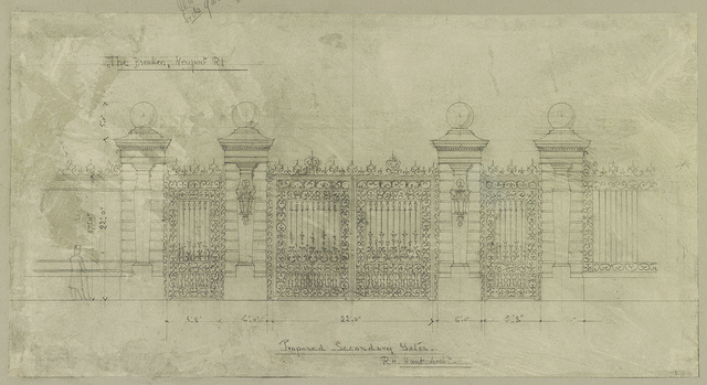"[House (""The Breakers"") for Cornelius Vanderbilt, Newport, Rhode Island. Proposed secondary gates. ""F""] / R.M. Hunt, Arch't."