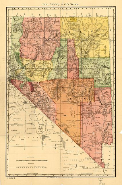 Indexed county and township pocket map and shippers guide of Nevada, accompanied by a new and origianl compilation and ready reference index, showing in detail the entire railroad network.