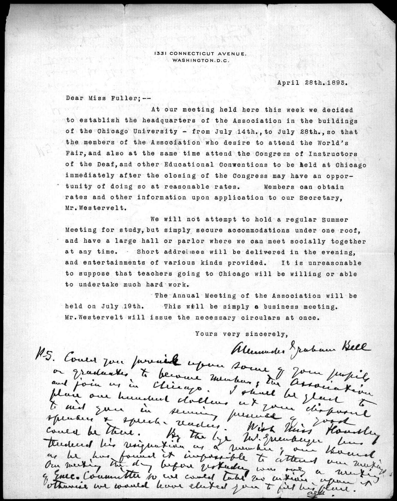 Letter from Alexander Graham Bell to Sarah Fuller, April 28, 1893