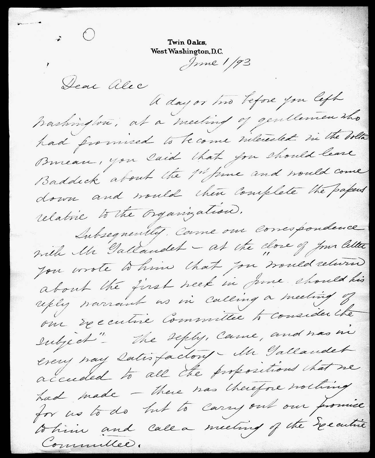Letter from Gardiner Greene Hubbard to Alexander Graham Bell, June 1, 1893