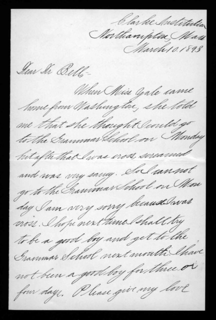 Letter from J. Pierson Radcliffe to Alexander Graham Bell, March 10, 1893
