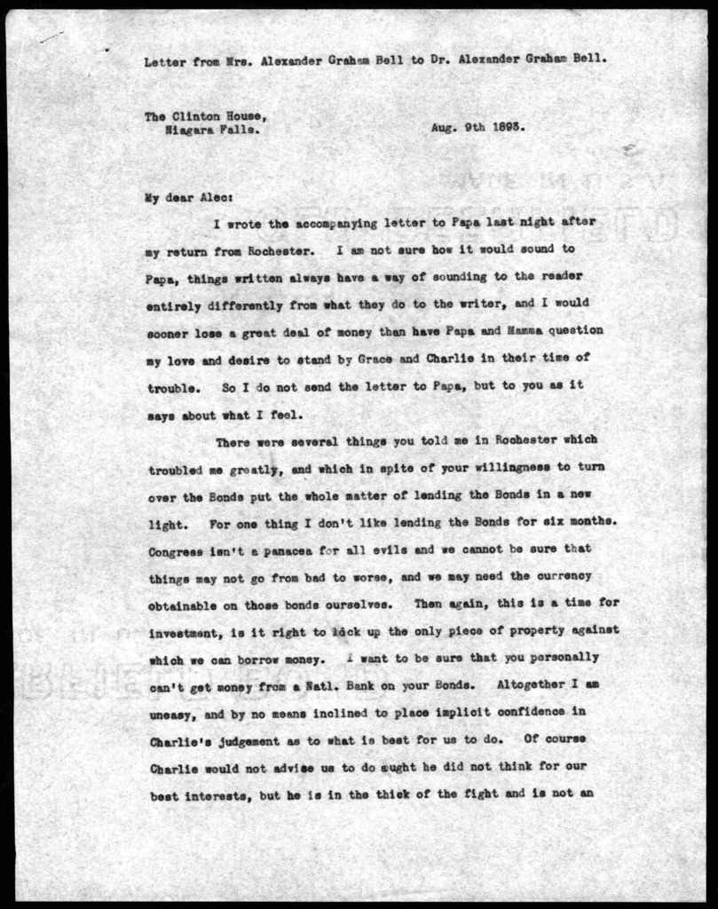 Letter from Mabel Hubbard Bell to Alexander Graham Bell, August 9, 1893