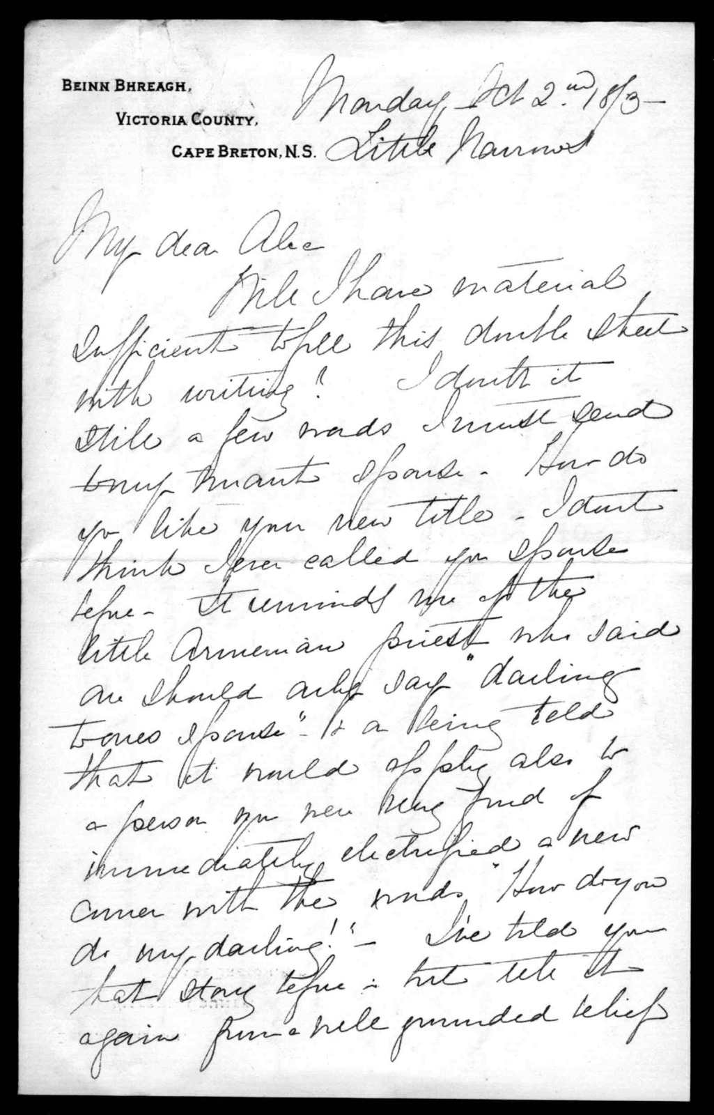 Letter from Mabel Hubbard Bell to Alexander Graham Bell, October 2, 1893