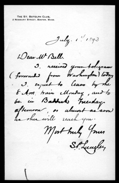 Letter from Samuel P. Langley to Alexander Graham Bell, July 1, 1893