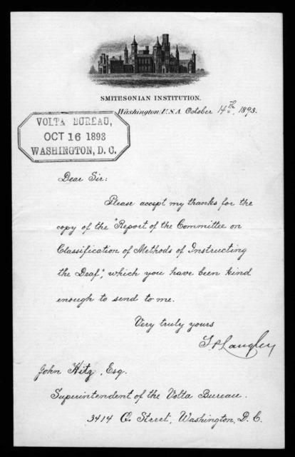 Letter from Samuel P. Langley to John Hitz, October 14, 1893