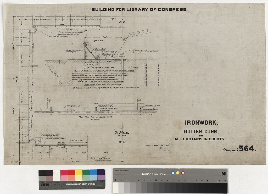 [Library of Congress, Washington, D.C. Ironwork. Gutter curb on curtains in courts]