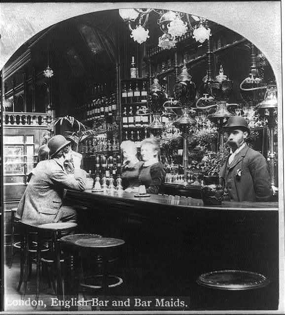 London, English bar and bar maids