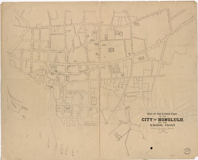 Map of the lower part of the city of Honolulu and the harbor front /