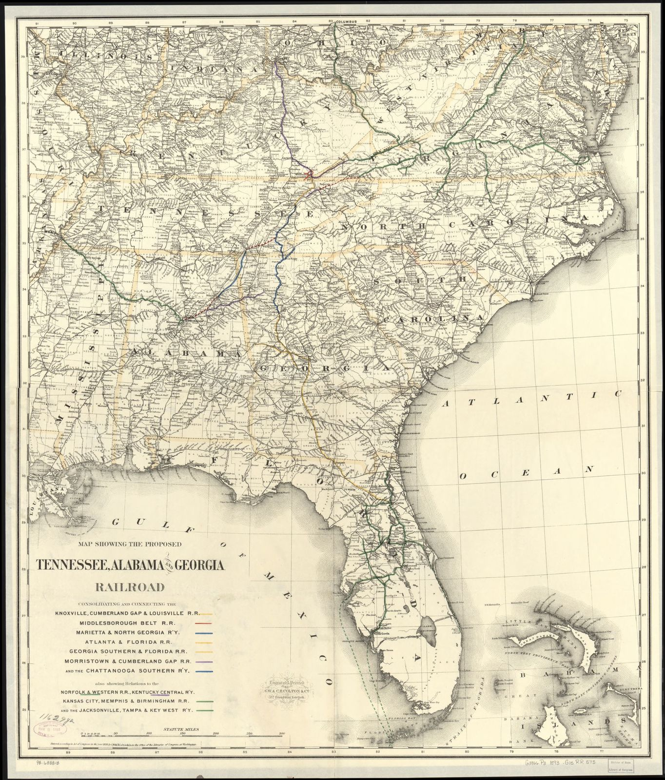 Map Showing The Proposed Tennessee Alabama And Georgia Railroad