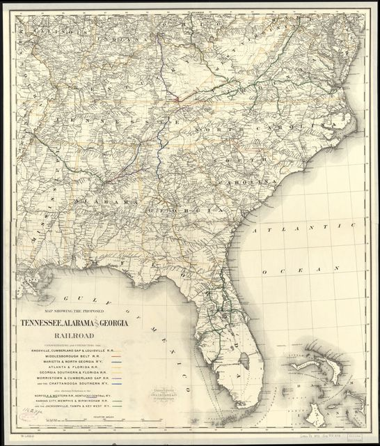 Map showing the proposed Tennessee, Alabama, and Georgia Railroad ...