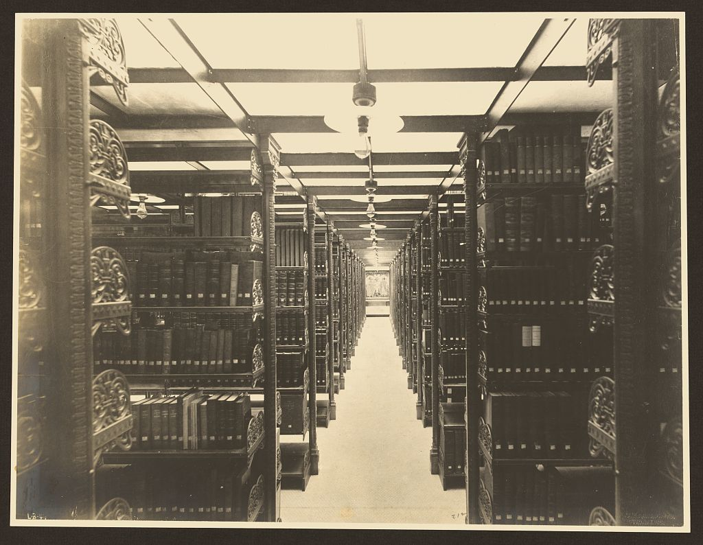 [Metal stacks in book room, Pequot Library, Southpot, Connecticut]