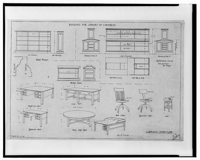 "[Miscellaneous fixtures, equipment, and finishes (""furniture"") and alterations to the Library of Congress, Washington, D.C. 53 - desks, tables, rolling cases, press]"