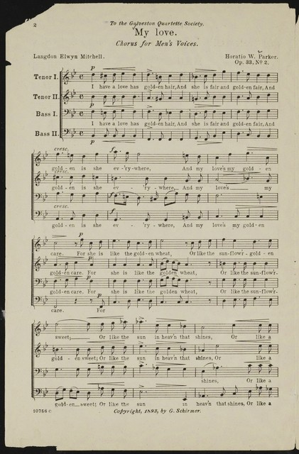 My love chorus for men's voices : op. 33, no. 2