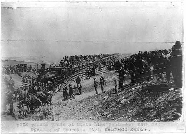 Rock Island train at State Line, September 16th 1893. opening of Cherokee Strip, Caldwell, Kansas.