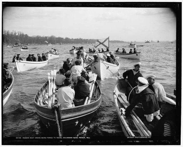 Russian boat crews being towed to races, Columbian Naval Parade, 1892 [i.e. 1893]