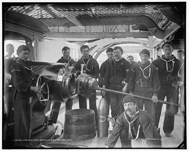 U.S.S. New York, breech of 8 inch gun and crew