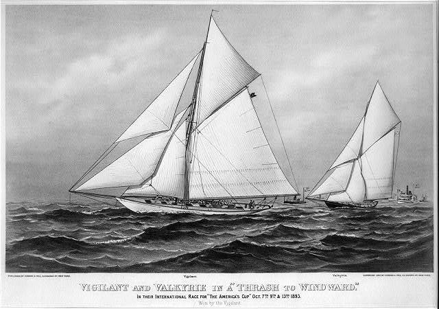 "Vigilant and Valkyrie in a ""thrash to windward"": in their international race for ""The America's Cup"" Oct. 7th, 9th. & 13th. 1893"