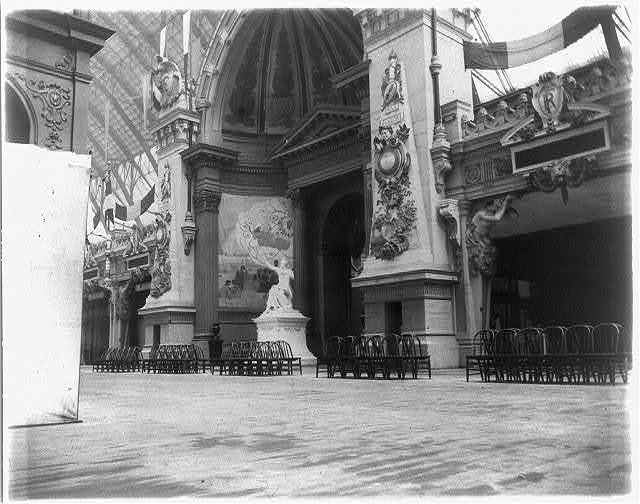 [World's Columbian Exhibition, Chicago, 1893 - interiors]: entrance to French sect., Manufacturers Bldg.