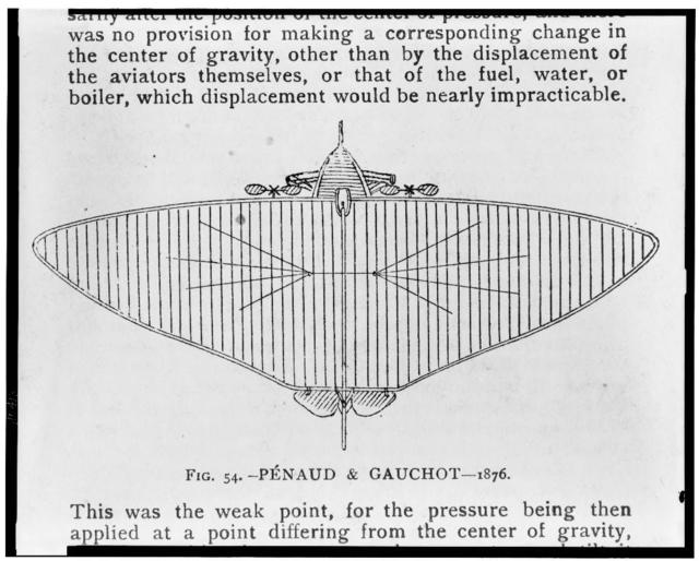 [Alphonse Penaud design for twin-propeller monoplane with large wing]