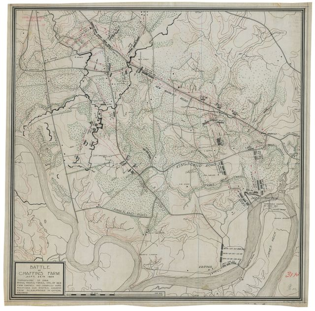 Battle of Chaffin's Farm, Sept. 29th 1864 : topography of 1894 : roads, houses, trees, etc. of 1864 from Campbell and Chambliss maps : positions and routes assumed from descriptions in official records.