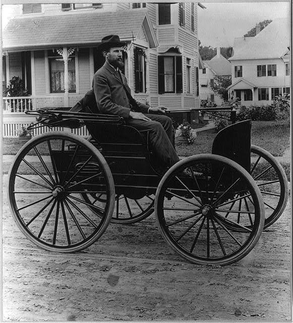 Charles E. Duryea in his third automobile (1893-4), winner of the Chicago contest of 1894