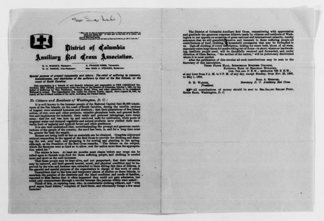 Clara Barton Papers: Red Cross File, 1863-1957; American National Red Cross, 1878-1957; Relief operations; Sea Islands, S.C.; Miscellany, 1894, undated
