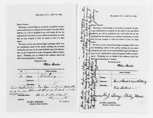 Clara Barton Papers: Red Cross File, 1863-1957; American National Red Cross, 1878-1957; Relief operations; Sea Islands, S.C.; Contributions and supplies; Donor forms, 1894