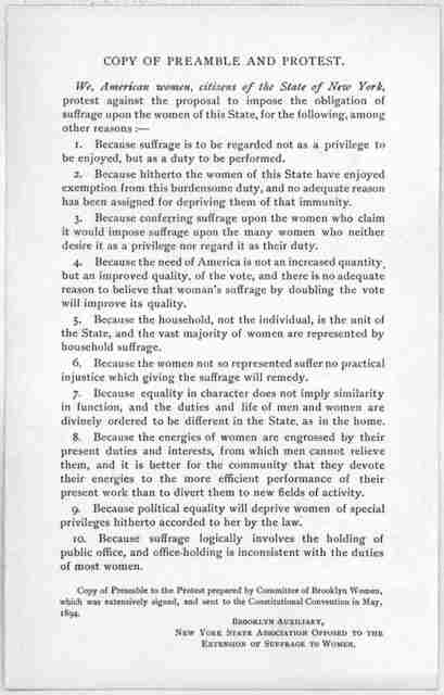 Copy of preamble and protest ... Brooklyn Auxiliary, New York State association opposed to the extension of suffrage to women. [1894].