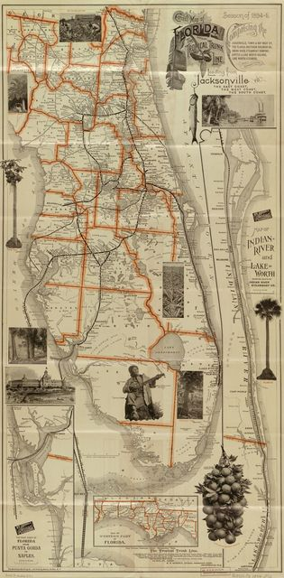 Correct map of Florida : season of 1894-5 : showing the Tropical Trunk Line : comprising the Jacksonville, Tampa & Key West R'y, the Florida Southern Railroad Co., Indian River Steamboat Company, Jupiter & Lake Worth Railway, Lake Worth steamers, and connections : leading from Jacksonville to the east coast, the west coast, the south coast.