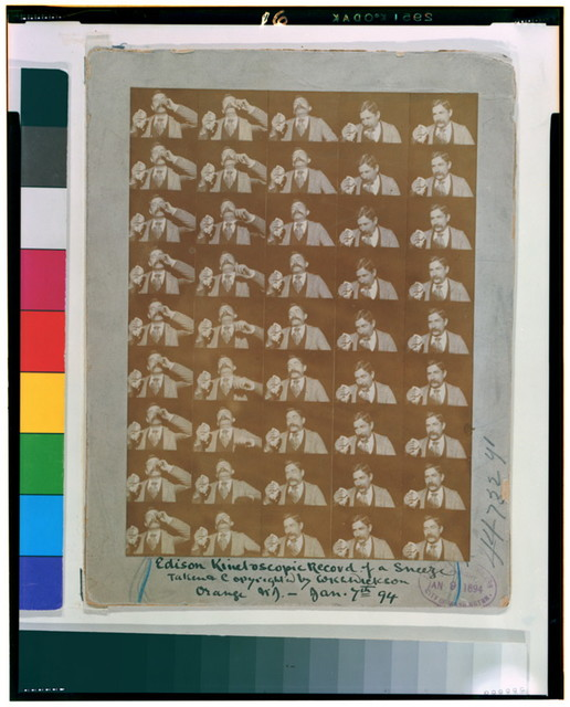 Edison kinetoscopic record of a sneeze / taken & copyrighted by W.K.-L. Dickson, Orange, N.J.