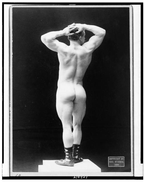 [Eugen Sandow, full-length nude portrait, standing, rear view, hands on head] / Steckel, Los Angeles, Cal.