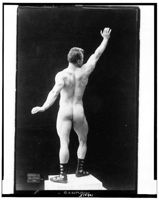 [Eugen Sandow, full-length nude portrait, standing, rear view, right arm raised] / Steckel, 220 S. Spring St., Los Angeles, Cal.